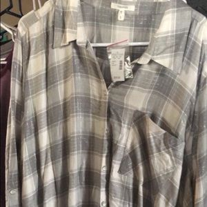 Maurices Plaid Long Sleeve Shirt Size 3 NWT